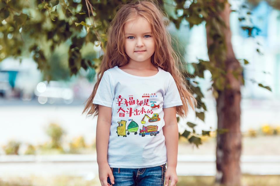 儿童涂鸦手绘成长t恤