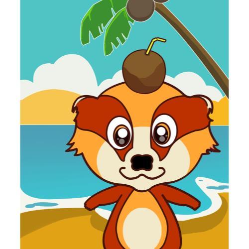 獾子贝贝椰岛风情框画图片
