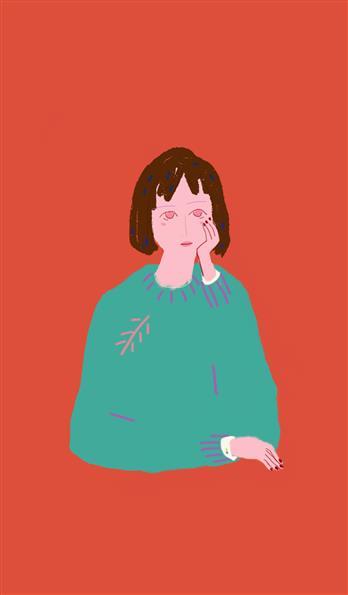 绿毛衣可爱小清新少女情侣手机壳